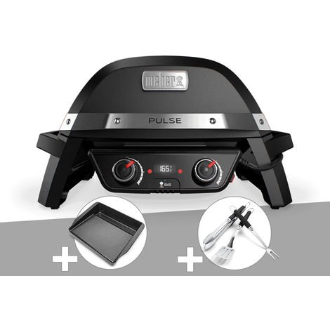 Barbecue électrique Weber Pulse 2000 + Plancha + Kit Ustensile