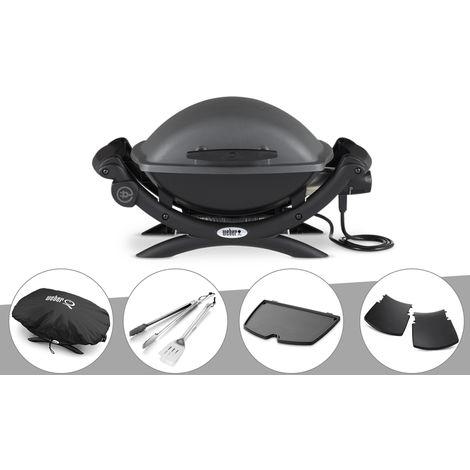Barbecue électrique Weber Q 1400 + Housse + Kit Ustensile + Plancha + Plan travail