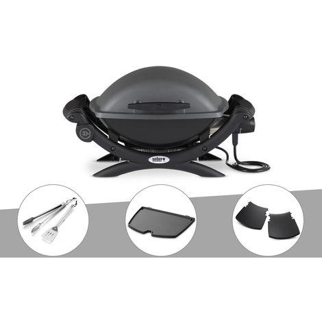 Barbecue électrique Weber Q 1400 + Kit Ustensile + Plancha + Plan travail