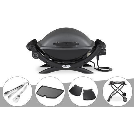 Barbecue électrique Weber Q 1400 + Kit Ustensile + Plancha + Plan travail + Chariot