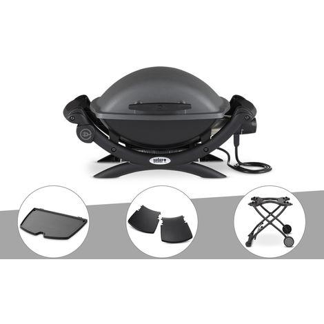 Barbecue électrique Weber Q 1400 + Plancha + Plan travail + Chariot