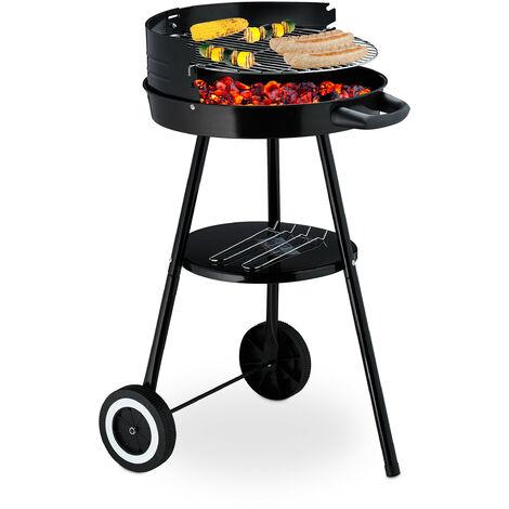 Barbecue en charbon de bois, rond et support et roulettes, grillage D 39,5, réglable en hauteur, jardin, noir.