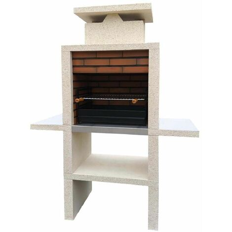 Barbecue fixe pierre et brique double tablette Elvas - revêtement inox - Sable