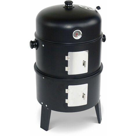 Barbecue fumoir au charbon de bois Ø38cm – Edouard – Smoker avec aérateur. fumoir. gril. boite de fumage. noir