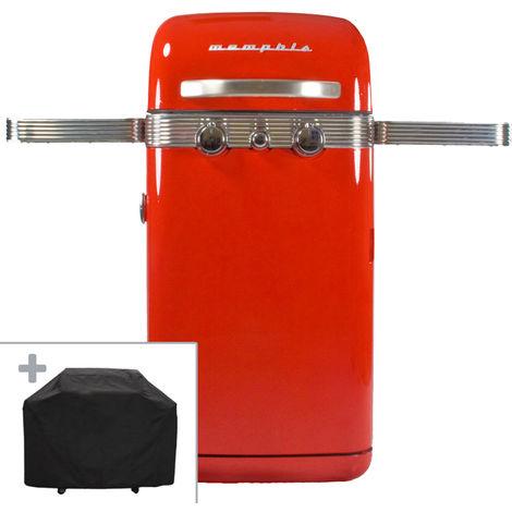 Barbecue gaz 4500W Memphis VINTAGE SAHARA 2 brûleurs inox Grille fonte, Connectique et Housse inclus garantie 5 ans