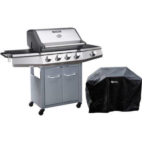 """Barbecue gaz avec LED """"Bingo 5"""" - 5 Brûleurs dont 1 latéral - 15.2kW + Housse protection - Argenté"""
