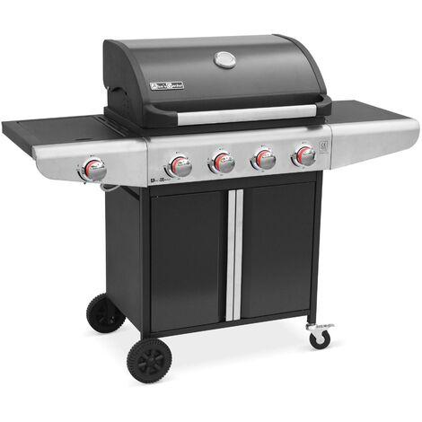 Barbecue gaz Bazin 4 Anthracite 4 brûleurs + 1 feu latéral avec tablettes latérales et thermomètre
