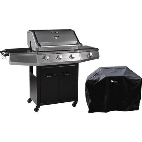 """Barbecue Gaz """"Bingo 4"""" - 4 brûleurs dont 1 latéral - 14kW + Housse protection - Noir"""