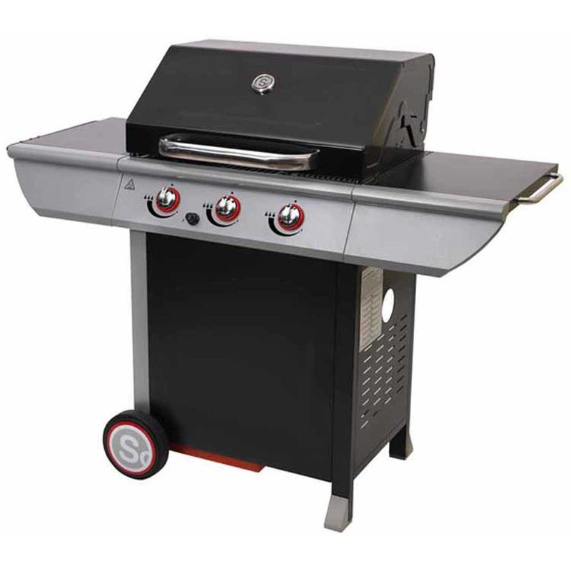 Pegane - Barbecue à gaz en acier laqué, grill, barbecue de jardin - Dim : 141,5 x 58,5 x 114,5 cm