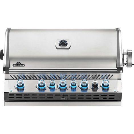 Barbecue gaz encastrable Napoleon Prestige Pro 665 inox 4 brûleurs + Sizzle Zone + brûleur arrière + Fumage