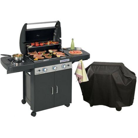Barbecue gaz grill et plancha CAMPINGAZ LS DARK 3 Classic - bruleurs inox - allumage piezo - fonte émaillée + Housse offerte