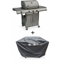Barbecue gaz inox 14kW – Richelieu inox – Barbecue 3 brûleurs + 1 feu latéral,grill et plancha, housse
