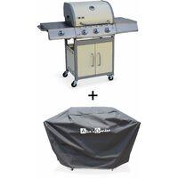 Barbecue gaz inox 14kW – Richelieu ivoire – Barbecue 3 brûleurs + 1 feu latéral,grill et plancha, housse