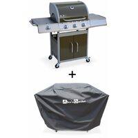 Barbecue gaz inox 14kW – Richelieu marron – Barbecue 3 brûleurs + 1 feu latéral,grill et plancha, housse
