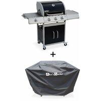 Barbecue gaz inox 14kW – Richelieu noir – Barbecue 3 brûleurs + 1 feu latéral,grill et plancha, housse