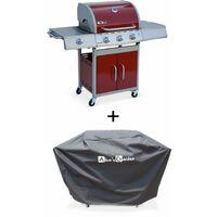 Barbecue gaz inox 14kW – Richelieu rouge – Barbecue 3 brûleurs + 1 feu latéral,grill et plancha, housse