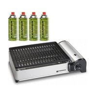 Barbecue gaz portable 1.9 KW Kemper grille anti adhesive + 4 cartouches gaz camping