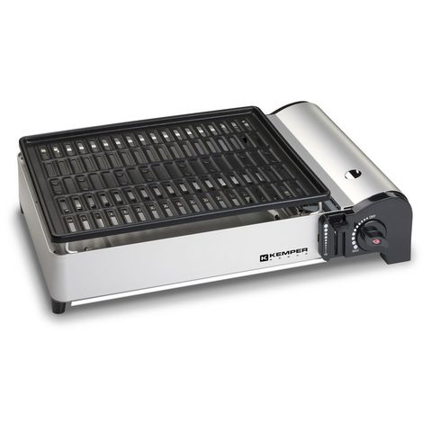 Barbecue gaz portable à gaz KEMPER 1.9 KW compact plaque anti adhesive table balcons terrrasses camping table
