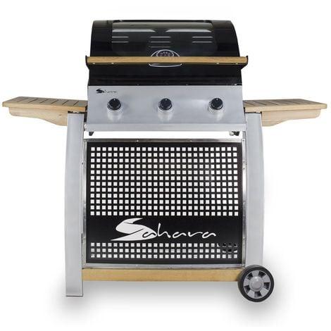 Barbecue gaz TEXAS OAK 13.5 KW 3 brûleurs inox connectique gaz incluse