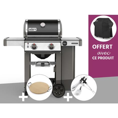 Barbecue gaz Weber Genesis II E-210 GBS Noir + Pierre à Pizza + Kit Ustensile + Housse OFFERTE