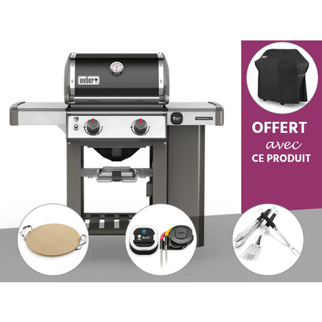 Barbecue gaz Weber Genesis II E-210 GBS Noir + Pierre à Pizza + Thermomètre IGrill 3 + Kit Ustensile + Housse OFFERTE