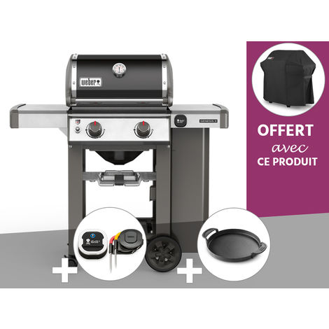 Barbecue gaz Weber Genesis II E-210 GBS Noir + Thermomètre IGrill 3 + Plancha + Housse OFFERTE