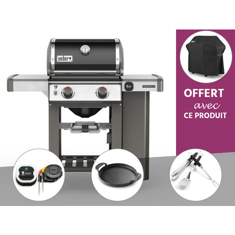 Barbecue gaz Weber Genesis II E-210 GBS Noir + Thermomètre IGrill 3 + Plancha + Kit Ustensile + Housse OFFERTE