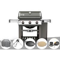 Barbecue gaz Weber Genesis II E-310 GBS Gris + Housse + Kit Ustensile + Plancha + Pierre à pizza + Thermomètre IGrill 3