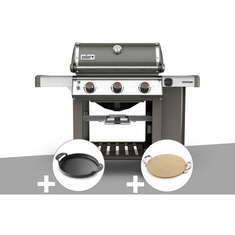 Barbecue gaz Weber Genesis II E-310 GBS Gris + Plancha + Pierre à pizza