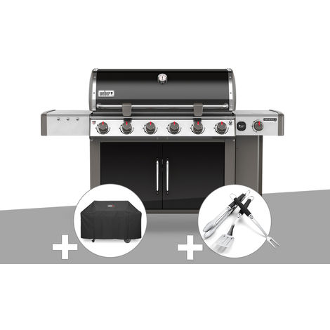 Barbecue gaz Weber Genesis II LX E-640 GBS Noir + Housse + Kit Ustensile