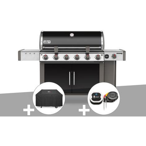 Barbecue gaz Weber Genesis II LX E-640 GBS Noir + Housse + Thermomètre IGrill 3