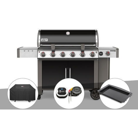 Barbecue gaz Weber Genesis II LX E-640 GBS Noir + Housse + Thermomètre IGrill 3 + Plancha