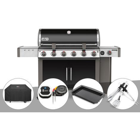 Barbecue gaz Weber Genesis II LX E-640 GBS Noir + Housse + Thermomètre IGrill 3 + Plancha + Kit Ustensile