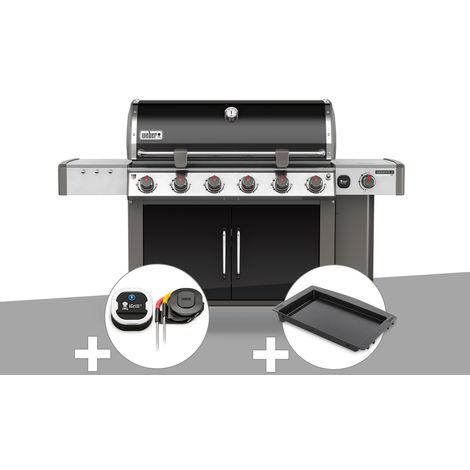 Barbecue gaz Weber Genesis II LX E-640 GBS Noir + Thermomètre IGrill 3 + Plancha