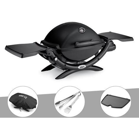Barbecue gaz Weber Q 1200 + Housse + Kit Ustensile + Plancha