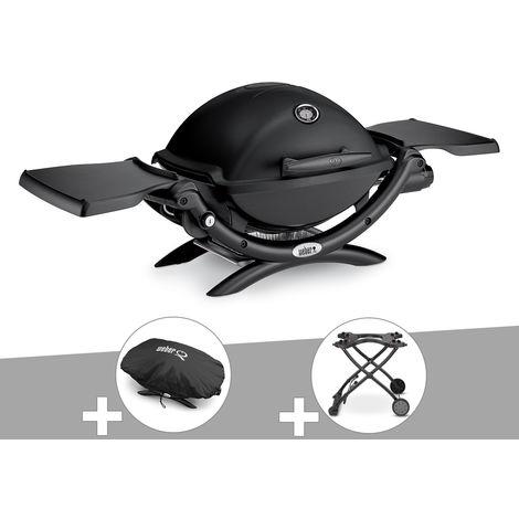 Barbecue gaz Weber Q 1200 Noir + Housse + Chariot