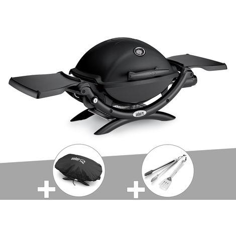 Barbecue gaz Weber Q 1200 Noir + Housse + Kit Ustensile