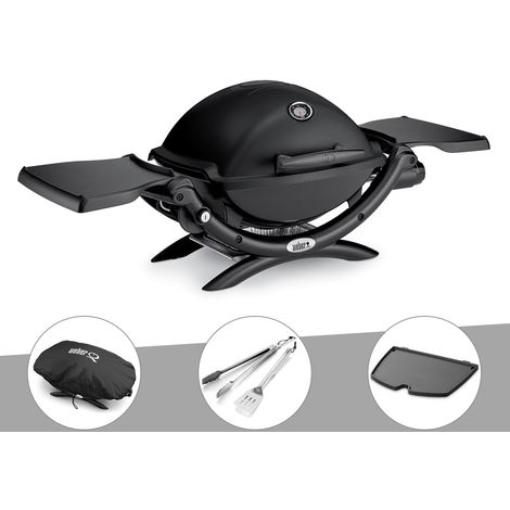 Barbecue gaz Weber Q 1200 Noir + Housse + Kit Ustensile + Plancha