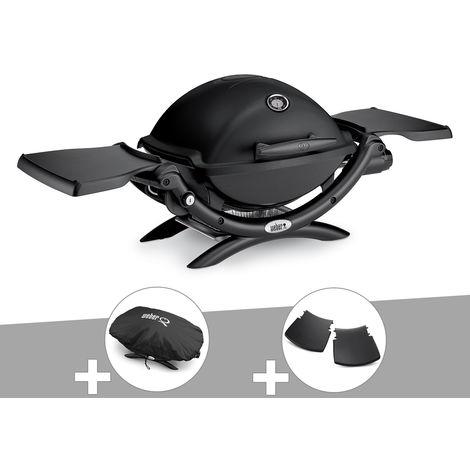 Barbecue gaz Weber Q 1200 Noir + Housse + Plan travail