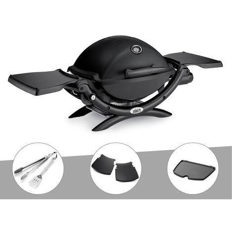 Barbecue gaz Weber Q 1200 Noir + Kit Ustensile + Plancha + Plan travail