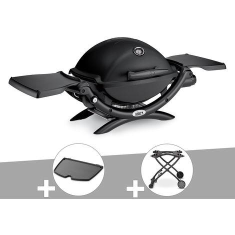 Barbecue gaz Weber Q 1200 Noir + Plancha + Chariot