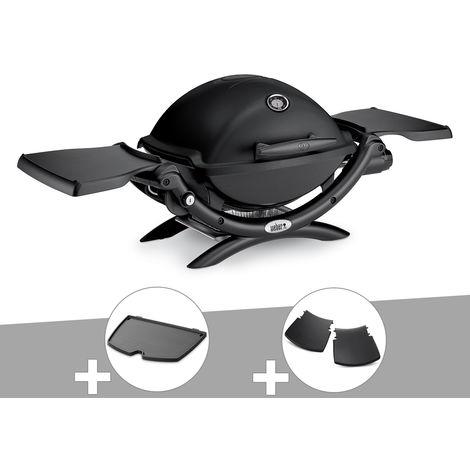 Barbecue gaz Weber Q 1200 Noir + Plancha + Plan travail