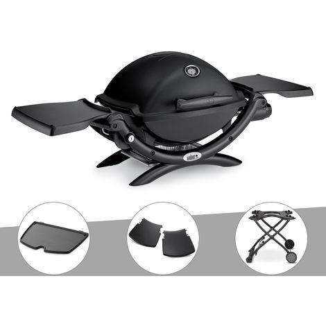 Barbecue gaz Weber Q 1200 Noir + Plancha + Plan travail + Chariot