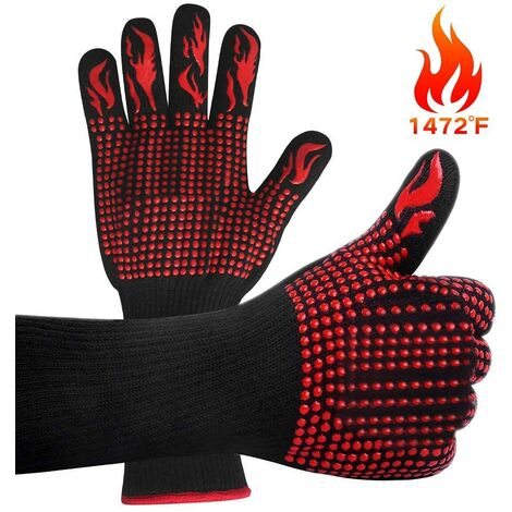 """main image of """"Barbecue Gloves, Heat Resistant Oven Gloves Up to 800 ° C Universal Heat Resistant and Non-slip Oven Gloves BBQ Grill Oven and Kitchen Gloves and Fireplace [1 Pair]"""""""