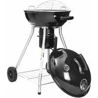 Barbecue Gril à charbon de bois avec thermomètre sur le couvercle et poignée résistante à la chaleur, barbecue boule, barbecue à 2 roue avec 4 pattes, grille pliable et plateforme de rangement - pour les fêtes de jardin et le camping - GBQ18BK