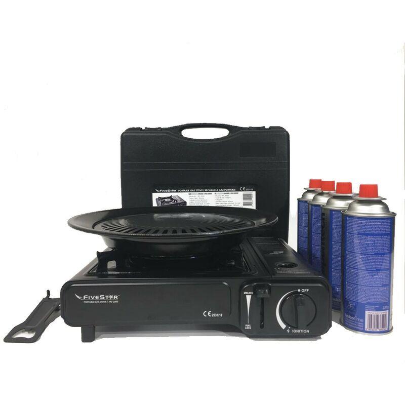 Grill Plaque 8x gaskartuschen Sg-2 CAMPING réchaud 2 Brûleur Réchaud 2x 2,5 KW