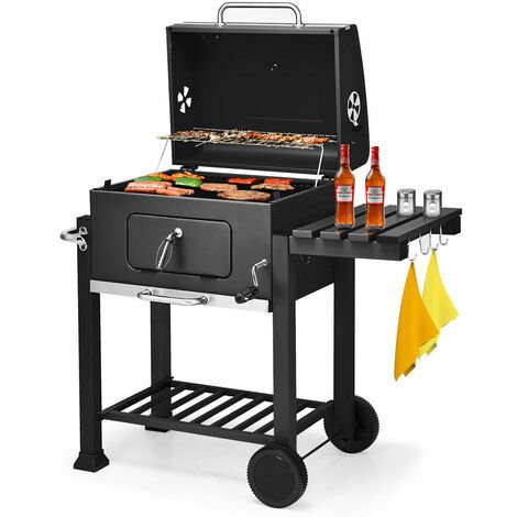 Barbecue Grill - Barbecue au charbon de bois avec tablette latérale et crochet Pour la cuisine en extérieur