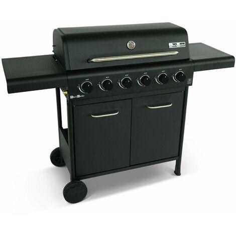 Barbecue noir et inox au gaz 6 brûleurs avec rangement 2 tablettes rabattables 2 roues PVC
