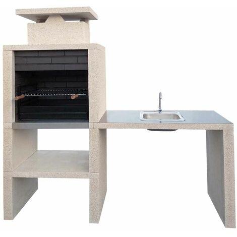 Barbecue pierre et brique avec plan de travail + evier Lamego - revêtement inox - Sable