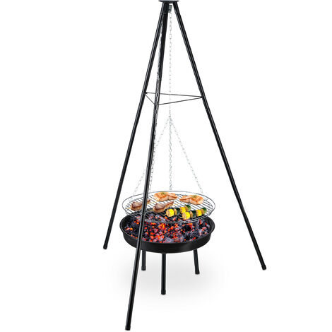 barbecue pivotant avec bol pour feu, en acier, grillage de 49cm, réglable en hauteur, trépied HxD148x105cm.